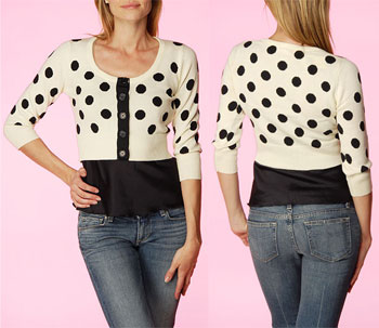 Betsey Johnson's Polka Dot Intarsia Cardigan
