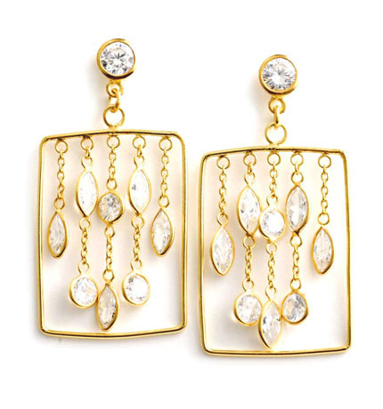Goldplated Rectangular CZ Earrings