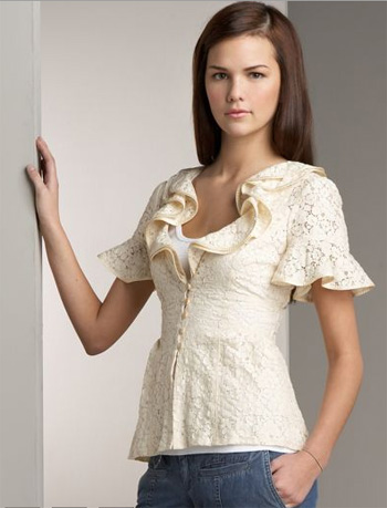 Nanette Lepore Ruffled Lace Top