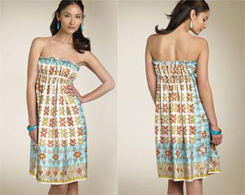 Nicole Miller Strapless Silk Babydoll Dress