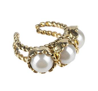 Triple Faux Pearl Ring