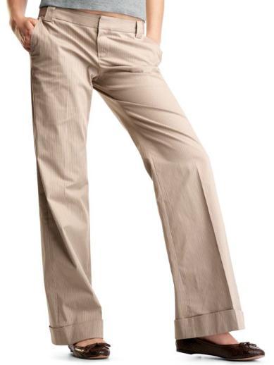 Khaki Striped Wide Leg Pants