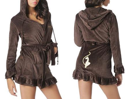 Ruffle Velour Robe