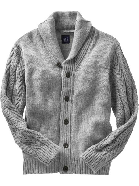 Cableknit-Sleeved Cardigan