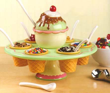 16 Piece Ice Cream Lazy Susan Set