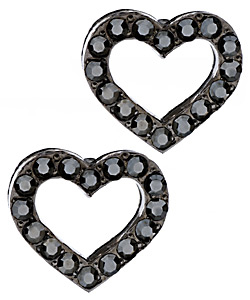 Blu Gunmetal Crystal Heart Earrings
