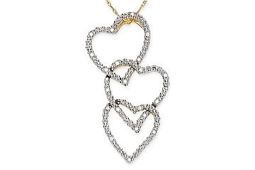 Triple Heart Diamond 10K Gold Pendant w/Chain