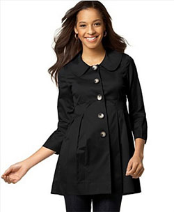 BCX Lantern-Sleeve Sateen Trench Coat