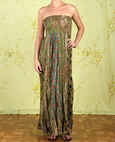 A Patchwork of Paisley Tapestries Strapless Maxi Dress