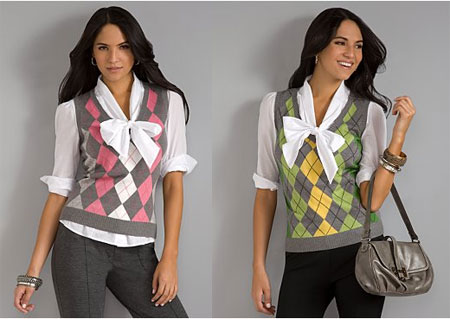 City Style Argyle Sweater Vest