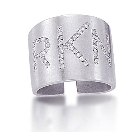 Kacey K White Gold and Diamond Monogram Ring