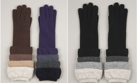 Knit Ruched Gloves by Moschino