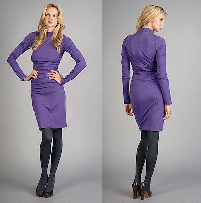 Nicole Miller Grape Long Sleeve Knit Dress