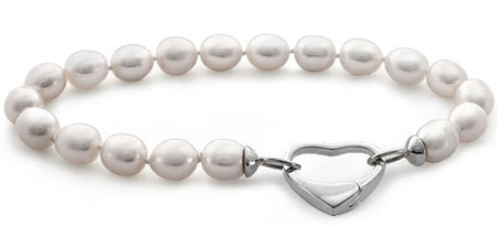 Oval Freshwater Cultured Pearl Bracelet with Sterling Silver Heart Clasp