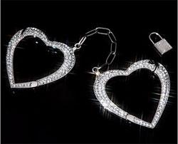 Rhinestone Heart Handcuffs