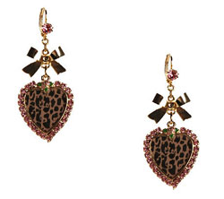 Tea Party Leopard Heart and Bow Earrings